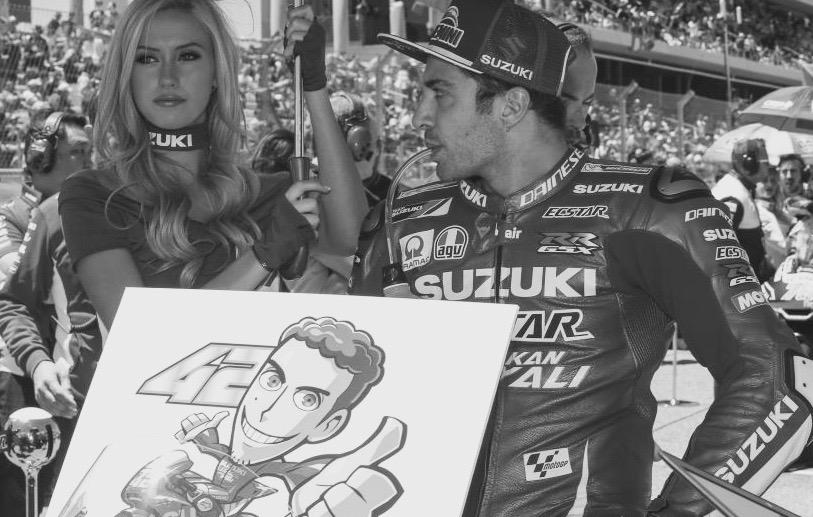 Iannone, deseándole una pronta recuperación a Rins. Foto: MotoGP