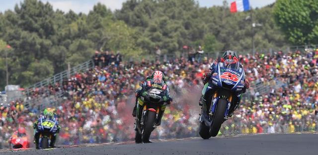 El trío de Yamahas. Foto: MotoGP
