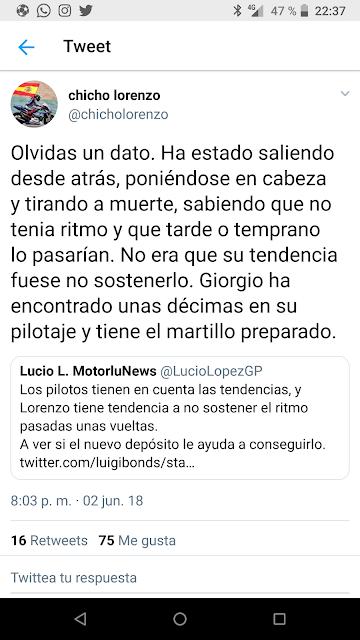 El tweet premonitorio de Chicho Lorenzo.